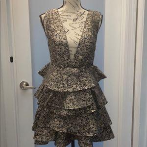 Deep Plunge Ruffle Dress